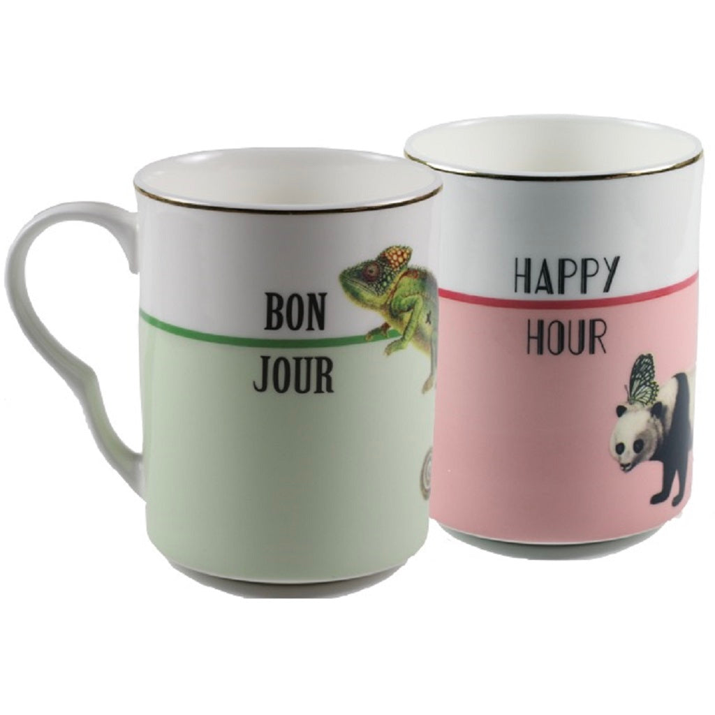 Set 2 Tassen Bonjour & Happy Hour - Giftbox