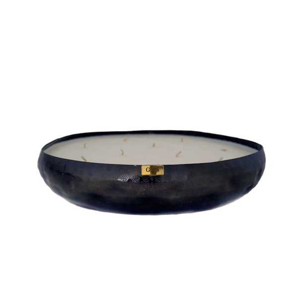 HAMMERED METAL FLAT DISH CANDLE