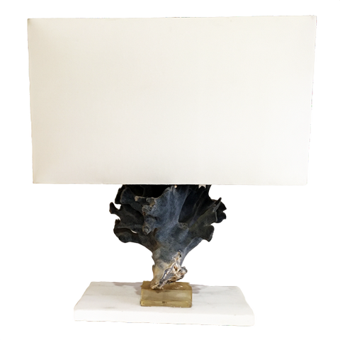 WHITE MARBLE AND CORAL LAMP