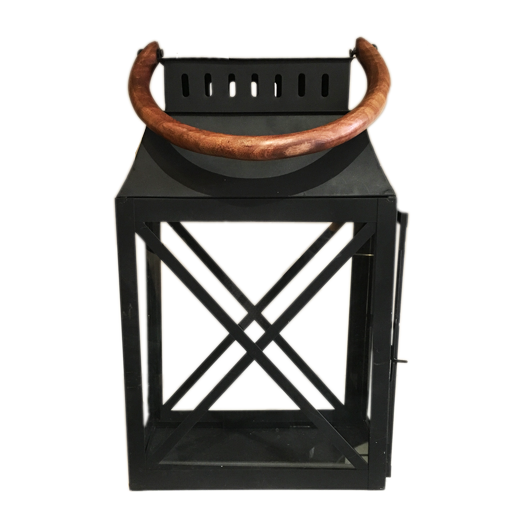 BLACK LANTERN WITH WOODEN HANDLE