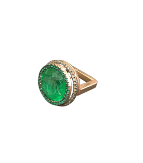 GREEN GARNET, GREEN ZIRCONIA & DIAMOND RING