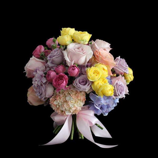 pastel multicoloured bouquet flowers