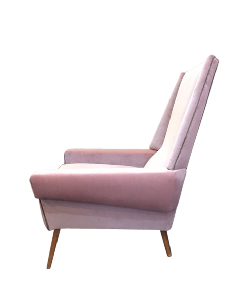Pink Velvet Retro Arm Chair