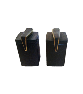 BLACK DESK POT WITH BRONZE FINISHINGS