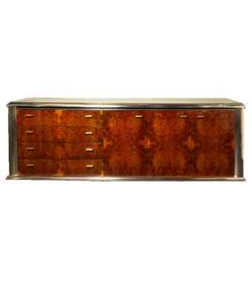BURL WOOD AND CHROME TRIM SIDEBOARD