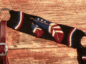 American Flag Feather Mohair Breast Collar