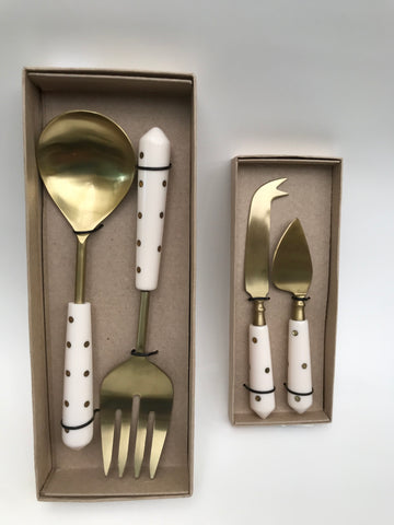 Spotted White & Brass Serving Sets