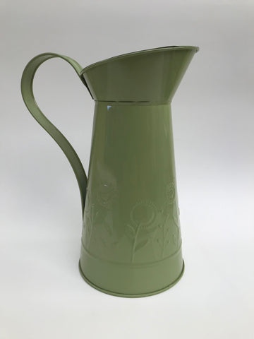 Tin Embossed Green Jug