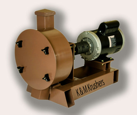 "K & M Krusher - Rock/Ore Crusher 1HP Electric Motor 11"" Drum 2-1/2"" Infeed-Rockwell #58 Hammers"