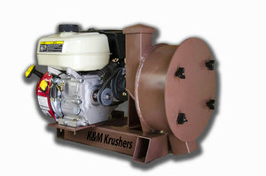 "K & M Krusher - Rock/Ore Crusher 6.5HP Gas Motor 11"" Drum 2-1/2"" Infeed-Rockwell #58 Hammers"