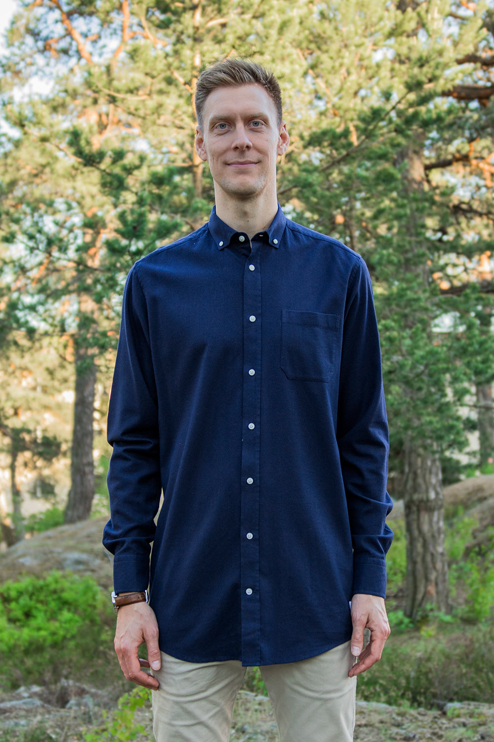 Long Navy Flannel Shirt