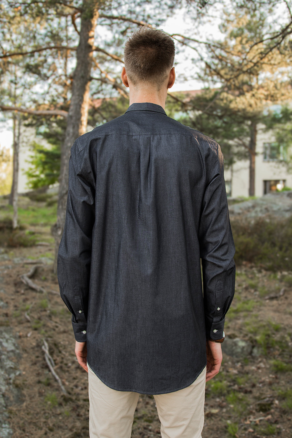 Long Black Denim-look Shirt