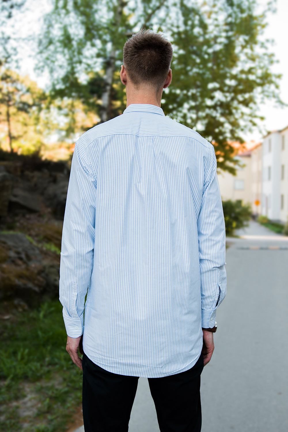 Long Blue/White Striped Oxford Shirt