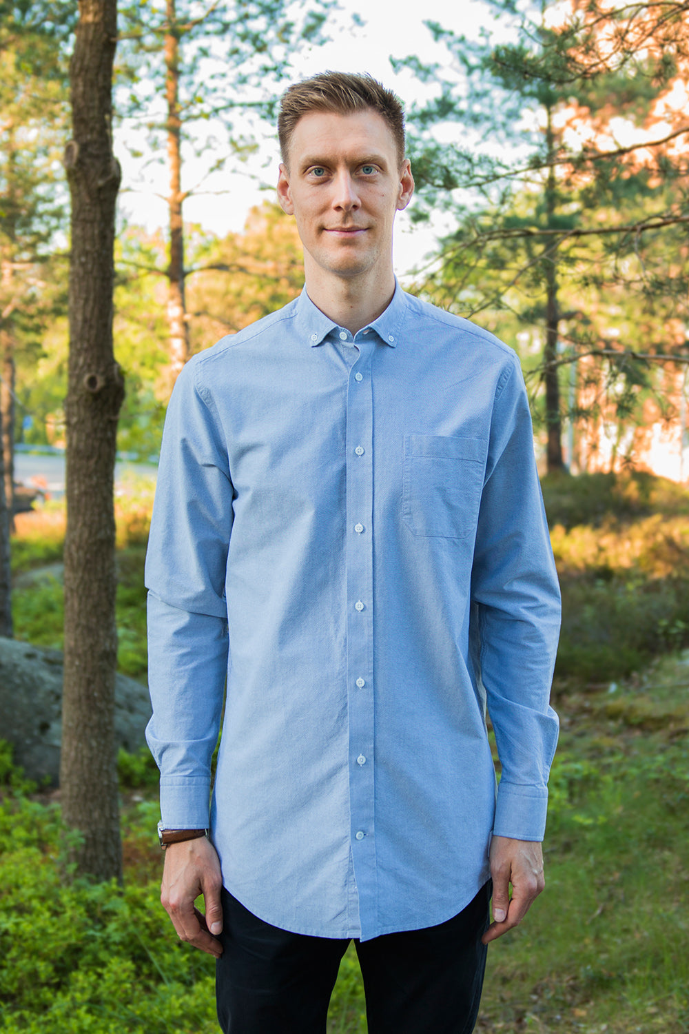Long Blue-Gray Oxford Shirt