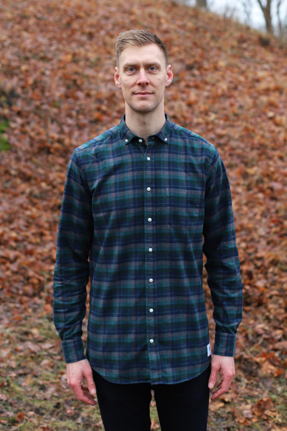 Long Green/Gray Combed Cotton Shirt