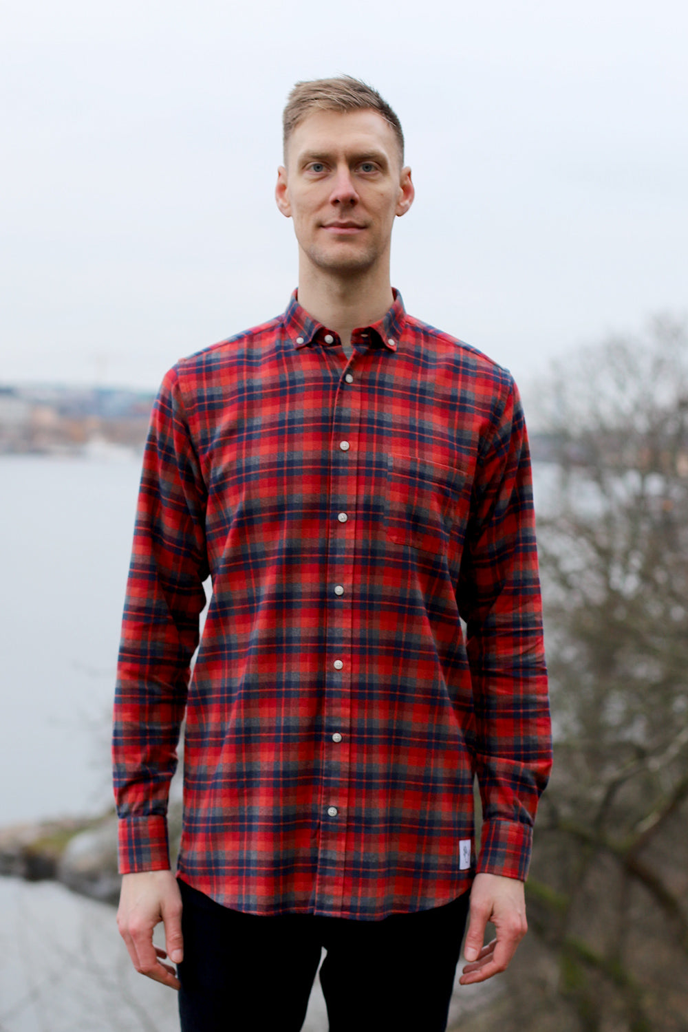Long Red/Blue Combed Cotton Shirt
