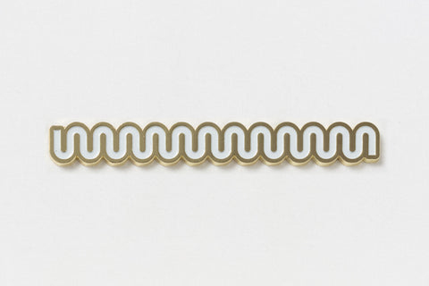 A long rectangular pin of a thick wiggly white line with gold edges