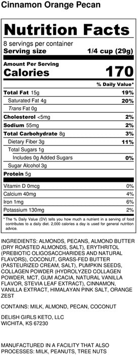 cinnamon orange pecan granola nutrition label