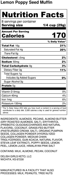 Lemon Poppyseed Muffin granola nutrition label