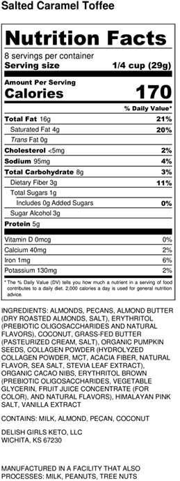 salted caramel toffee granola nutrition label