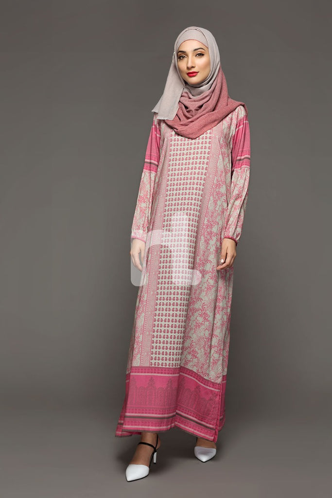 DW18-25 Pink Printed Stitched Cotton Modal Jalabiya - 1PC - Nishat Linen UAE