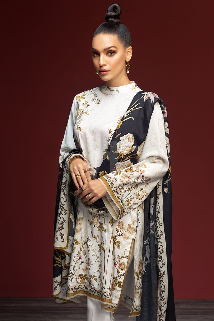 PDW19-14 White Printed Stitched Linen Shirt, Trouser & Printed Dupatta - 3PC - Nishat Linen UAE