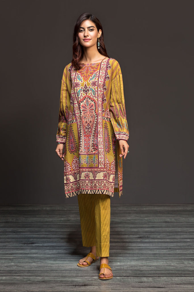 PDW19-06 Mustard Printed Stitched Linen Shirt & Printed Trouser - 2PC - Nishat Linen UAE