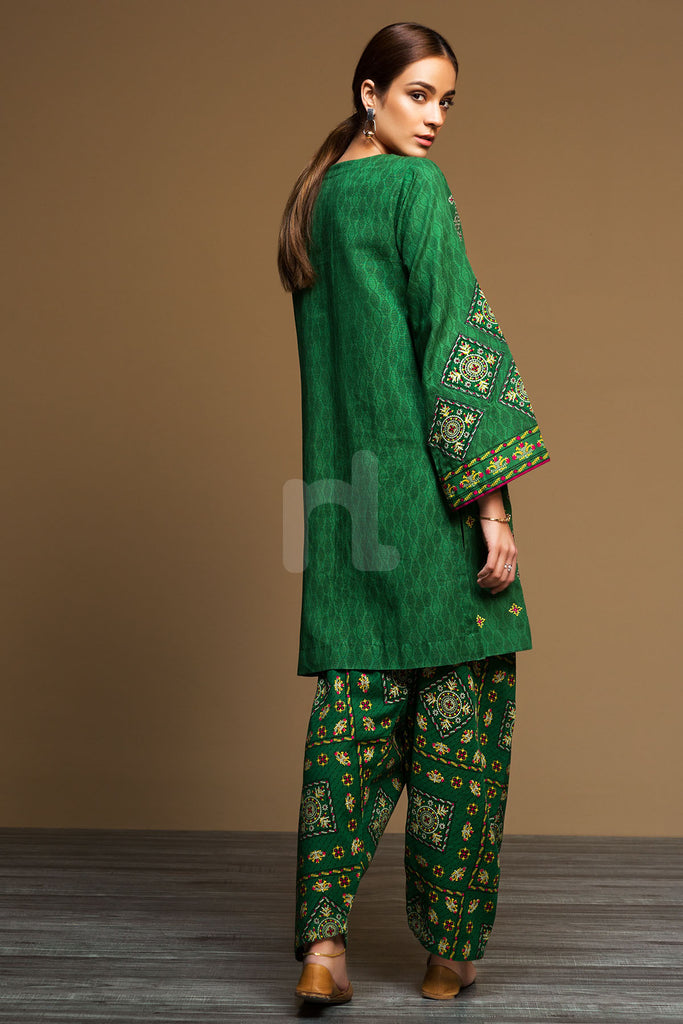 PDW19-27 Khaddar – Stitched Green Printed Embroidered 2PC - Nishat Linen UAE