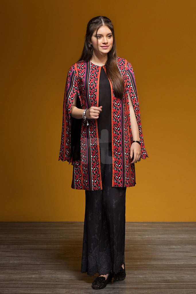 PDW19-31 Orange Printed Stitched Linen Shirt & Self Printed Trouser - 2PC - Nishat Linen UAE