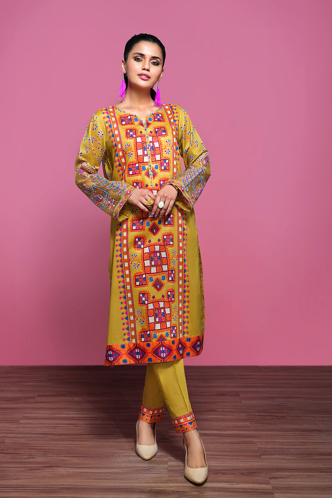 42001315- Printed Embroidered Lawn & Cambric 2PC - Nishat Linen UAE