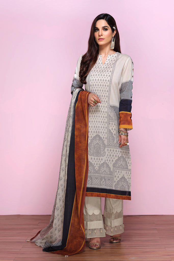 42001336-Digital Printed Super Fine Lawn & Voil-2PC