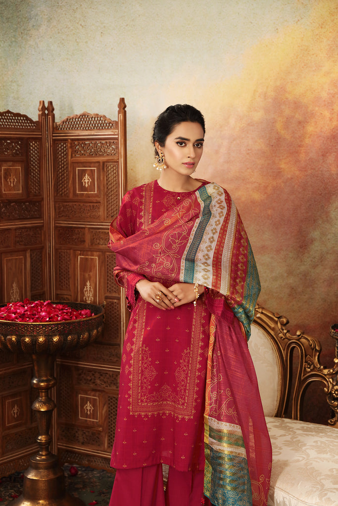 42001521-Digital Printed Super Fine Lawn, Banarsi Silk & Cambric-3PC