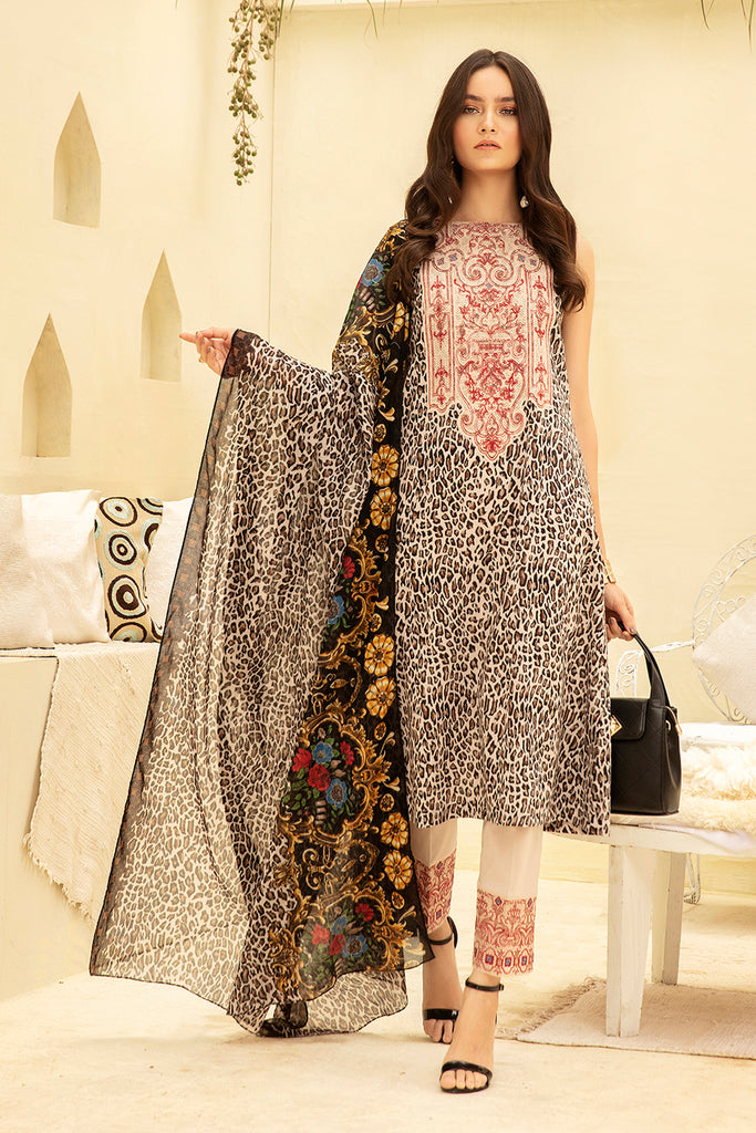 42001644- Printed Embroidered Super Fine Lawn, Rip Voil & Cambric-3PC
