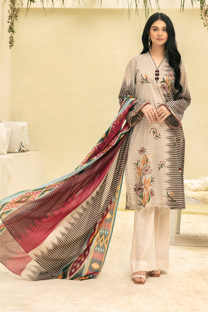 42001650- Printed Embroidered Super Fine Lawn, Rip Voil & Cambric-3PC
