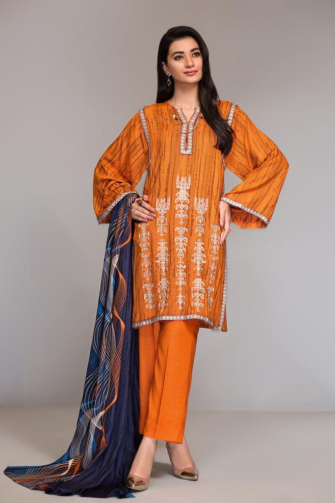 42003496- Printed Embroidered Linen 3PC