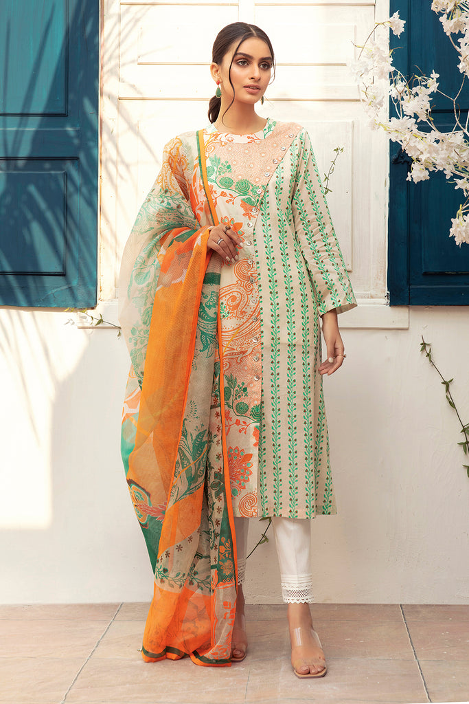 42101028-Digital Printed Super Fine Lawn & Slub Net-2PC