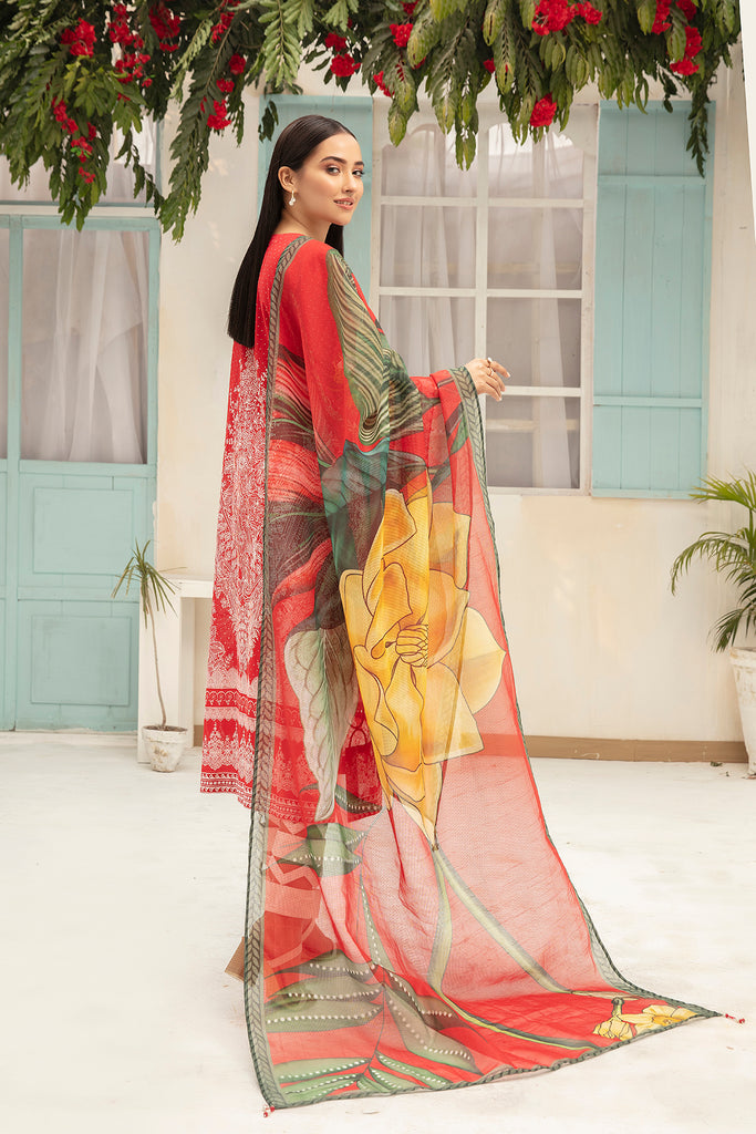 42101054-Embroidered Digital Printed Super Fine Lawn, Slub Net & Cambric-3PC