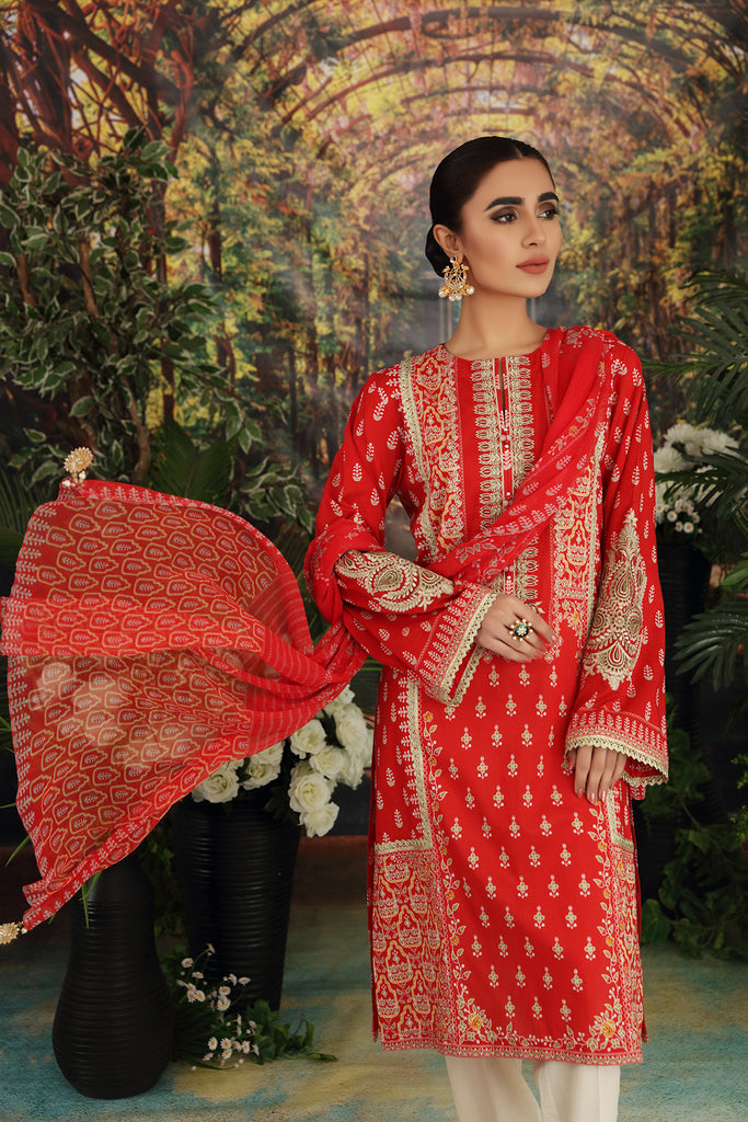 42101124-Printed Embroidered Super Fine Lawn, Crinkle Chiffon & Cambric-3PC