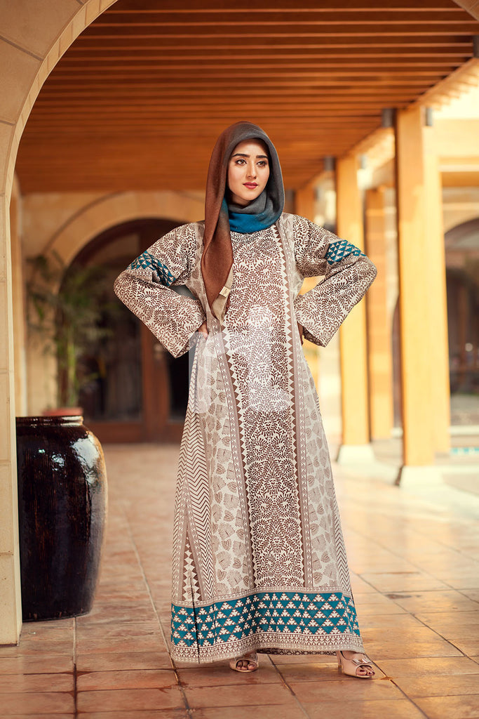 DE19-02 Brown Printed Stitched Pima Cotton Jalabiya - 1PC - Nishat Linen UAE