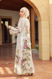 DE19-07 Off White Digital Printed Stitched Cambric Jalabiya - 1PC - Nishat Linen UAE