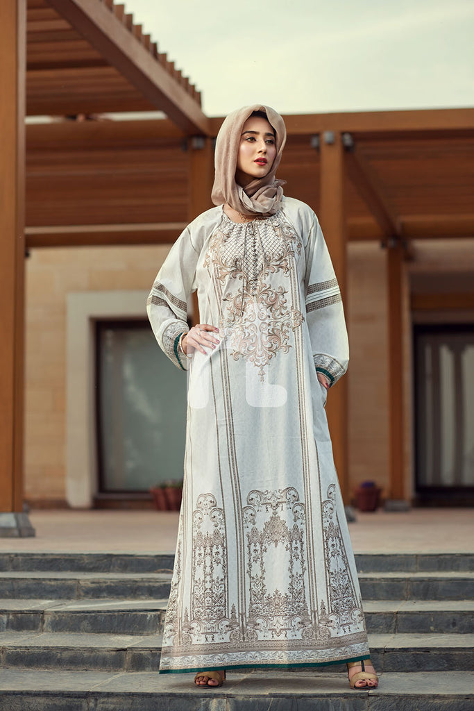 DE19-08 Beige Printed Embroidered Stitched Cambric Jalabiya – 1PC - Nishat Linen UAE