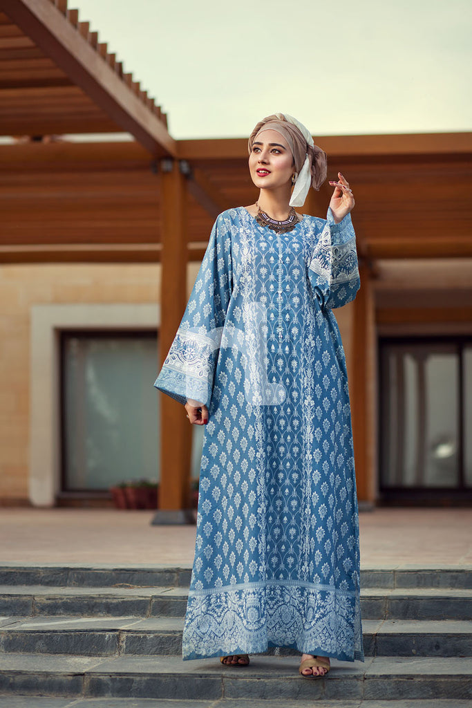 DE19-09 Blue Printed Embroidered Stitched Lawn Jalabiya – 1PC - Nishat Linen UAE