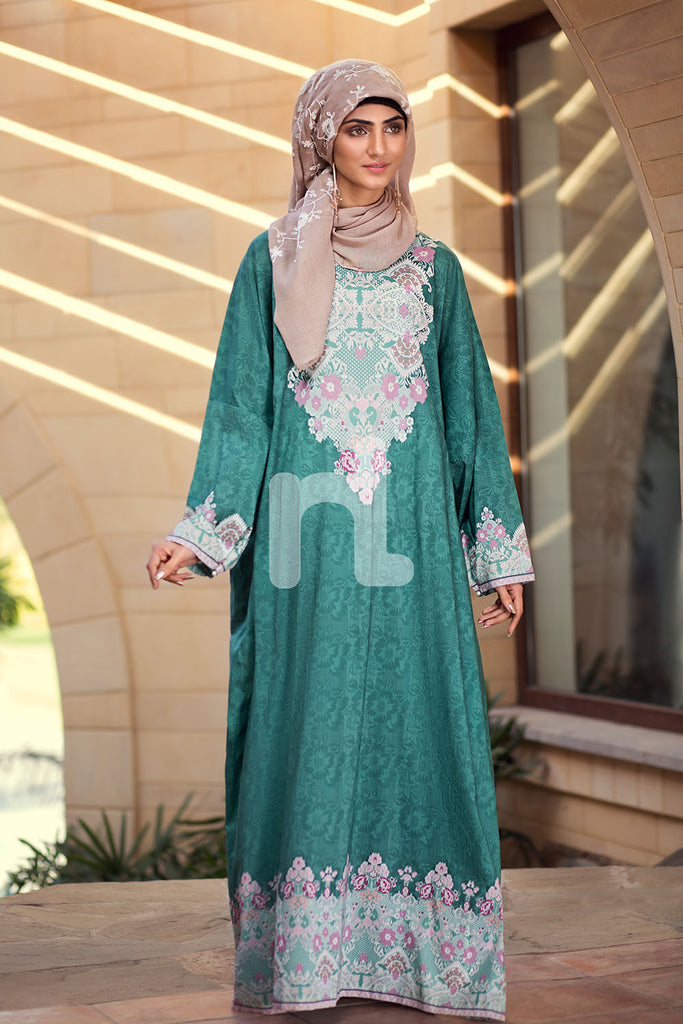 DE19-12 Green Printed Stitched Pima Cotton Jalabiya - 1PC - Nishat Linen UAE