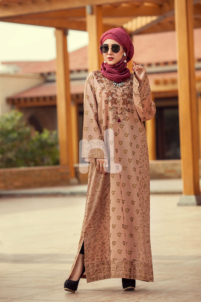 DE19-25 Peach Printed Embroidered Stitched Lawn Jalabiya – 1PC - Nishat Linen UAE