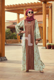 DE19-30 Brown Digital Printed Stitched Pima Cotton Jalabiya - 1PC - Nishat Linen UAE