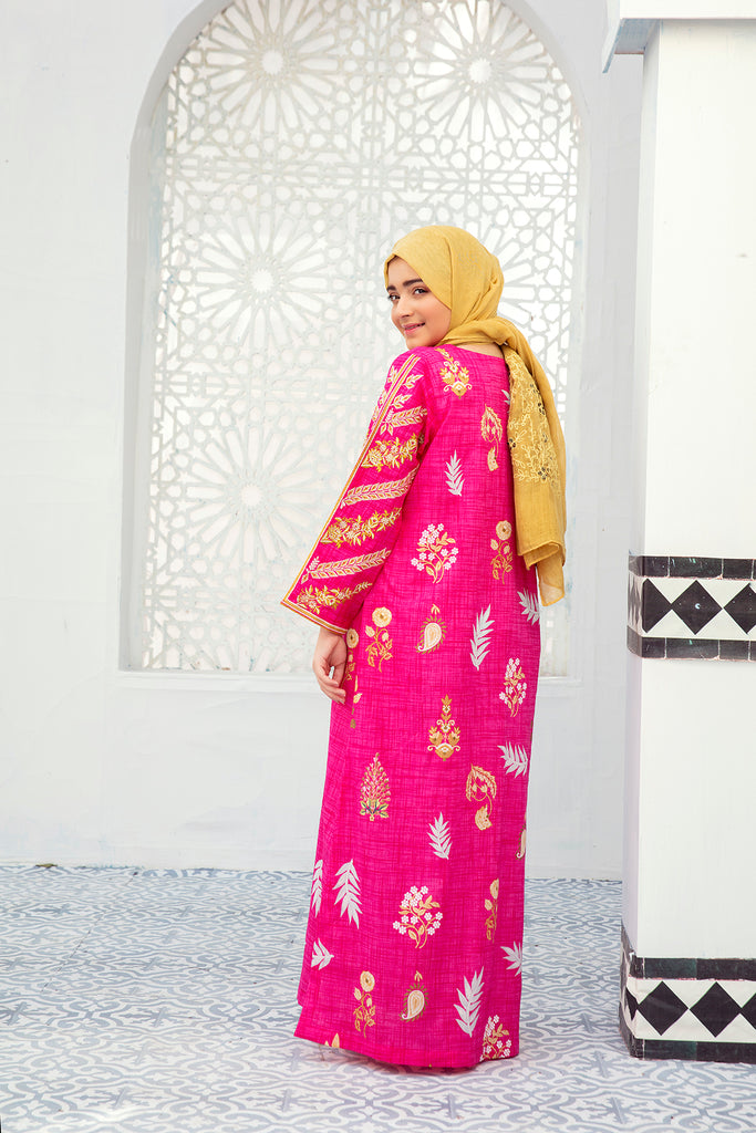 DE21-32-Regular Jalabiya With Embroidered Sleeves -1PC