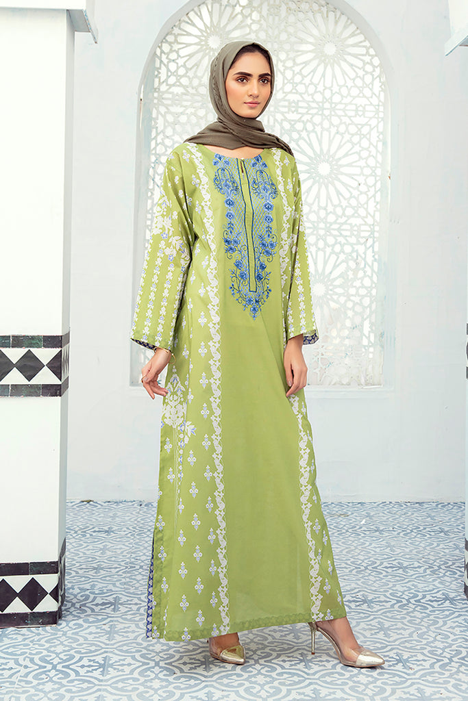 DE21-34-Loose Silhouette Embroidered Stitched Jalabiya-1PC