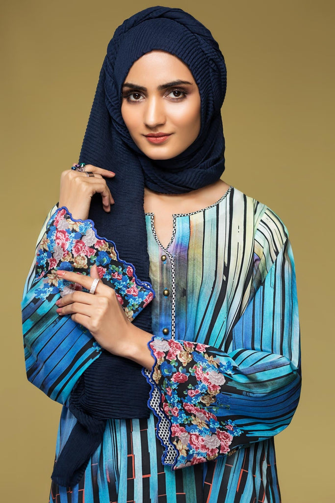 DS20-05 Printed Embroidered Stitched Jalabiya – 1PC - Nishat Linen UAE