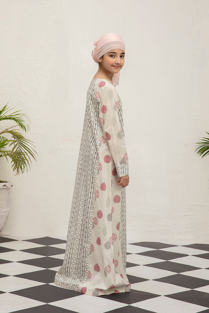 DS20-120 Printed Stitched Jalabiya for Kids - 1PC