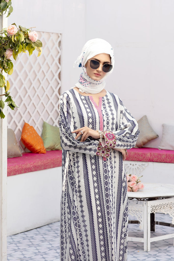 DS20-53 Printed Stitched Jalabiya – 1PC - Nishat Linen UAE